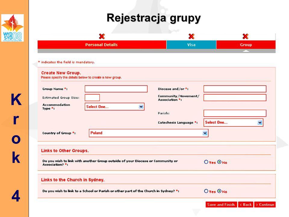 Rejestracja grupy Krok4Krok4
