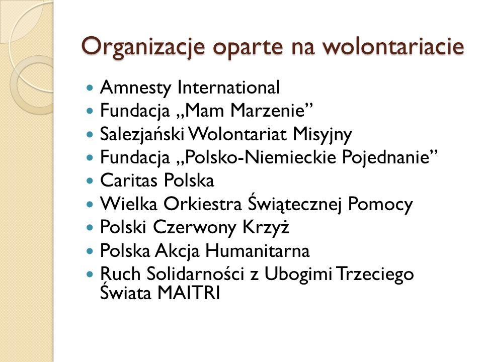 Organizacje oparte na wolontariacie Amnesty International Fundacja Mam Marzenie Salezjański Wolontariat Misyjny Fundacja Polsko-Niemieckie Pojednanie