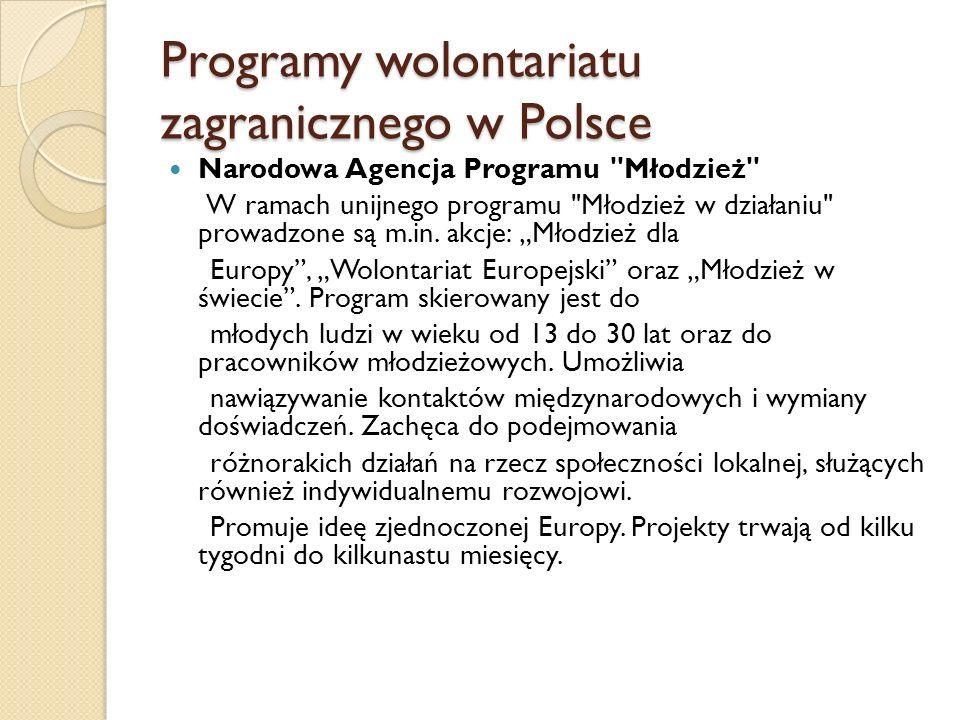Programy wolontariatu zagranicznego w Polsce Narodowa Agencja Programu