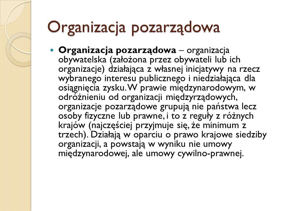 Organizacja pozarządowa Organizacja pozarządowa – organizacja obywatelska (założona przez obywateli lub ich organizacje) działająca z własnej inicjaty