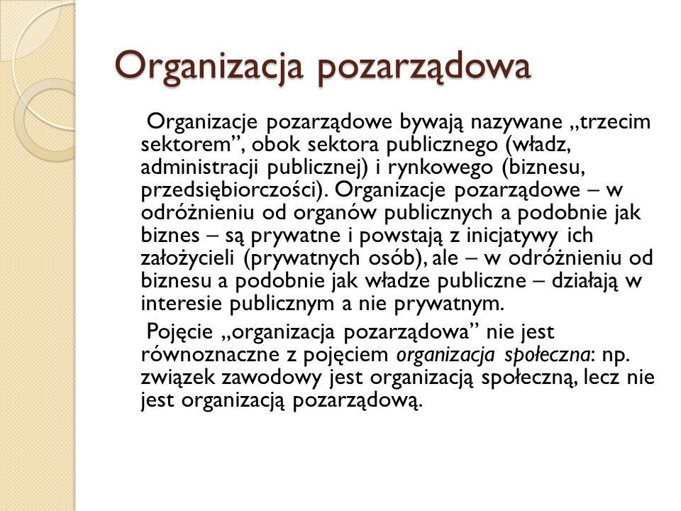 Organizacja pozarządowa Organizacje pozarządowe bywają nazywane trzecim sektorem, obok sektora publicznego (władz, administracji publicznej) i rynkowe