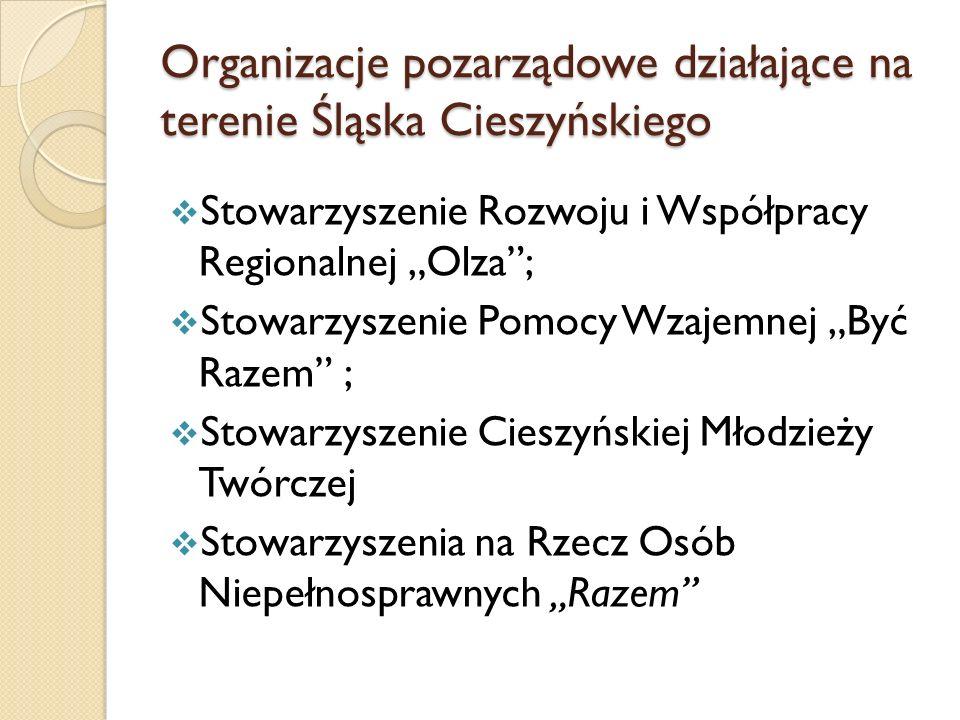 Organizacje pozarządowe działające na terenie Śląska Cieszyńskiego Stowarzyszenie Rozwoju i Współpracy Regionalnej Olza; Stowarzyszenie Pomocy Wzajemn