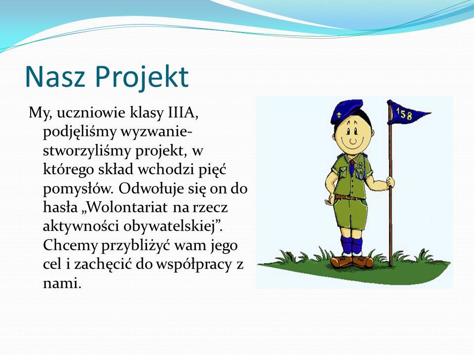 Nasz Projekt My, uczniowie klasy IIIA, podjęliśmy wyzwanie- stworzyliśmy projekt, w którego skład wchodzi pięć pomysłów.