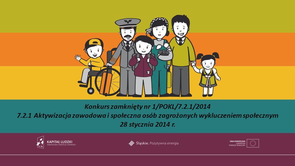Konkurs zamknięty nr 1/POKL/7.2.1/2014 7.2.1 Aktywizacja zawodowa i społeczna osób zagrożonych wykluczeniem społecznym 28 stycznia 2014 r.