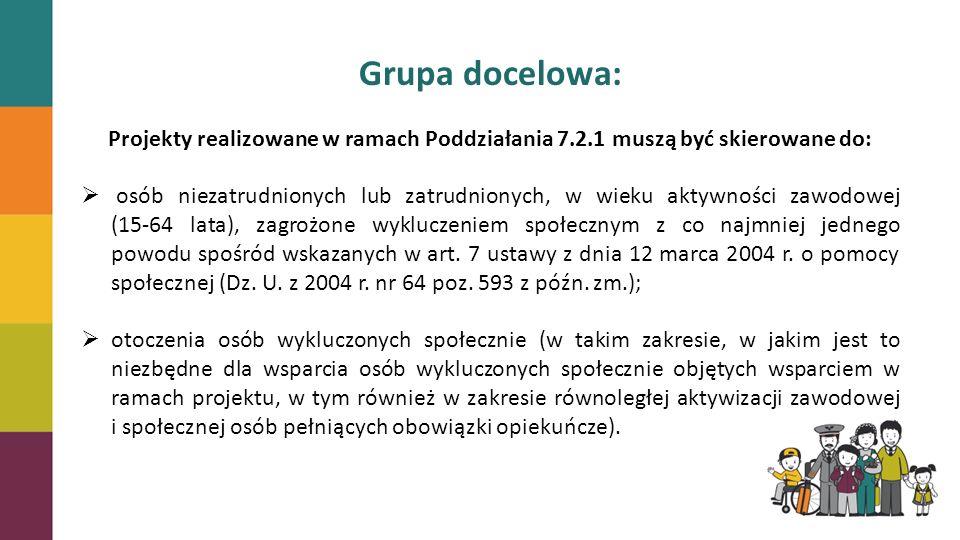 Grupa docelowa: Projekty realizowane w ramach Poddziałania 7.2.1 muszą być skierowane do: osób niezatrudnionych lub zatrudnionych, w wieku aktywności