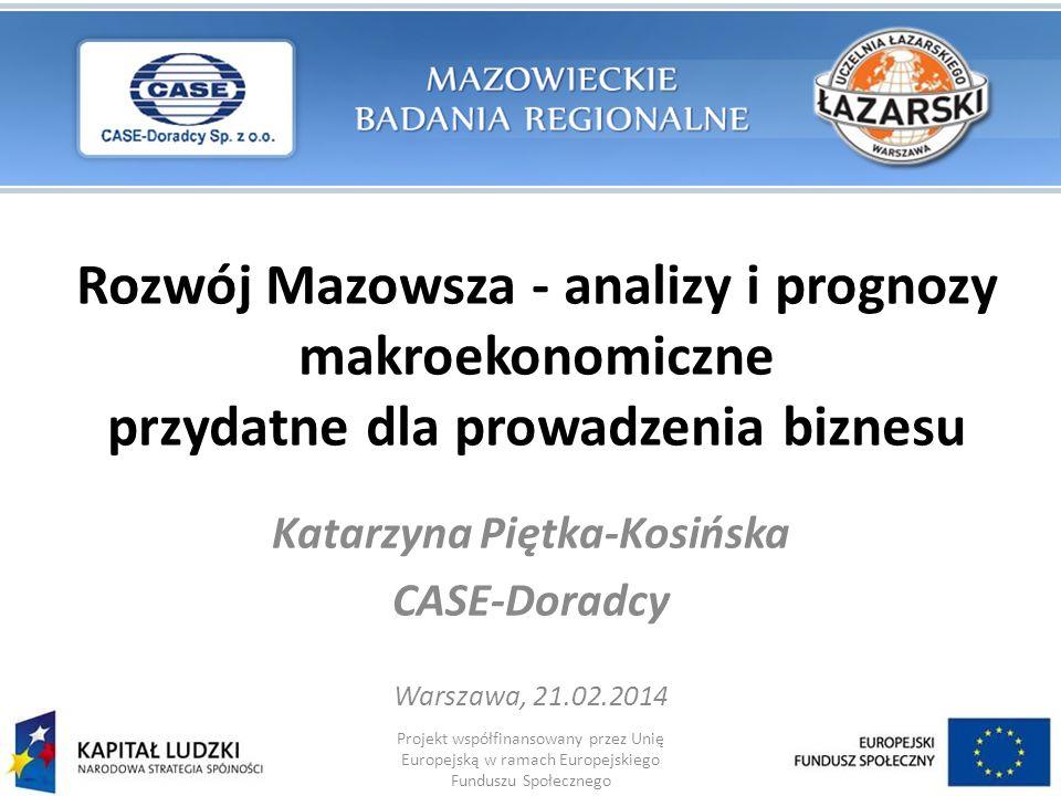 Rozwój Mazowsza - analizy i prognozy makroekonomiczne przydatne dla prowadzenia biznesu Katarzyna Piętka-Kosińska CASE-Doradcy Warszawa, 21.02.2014 Pr