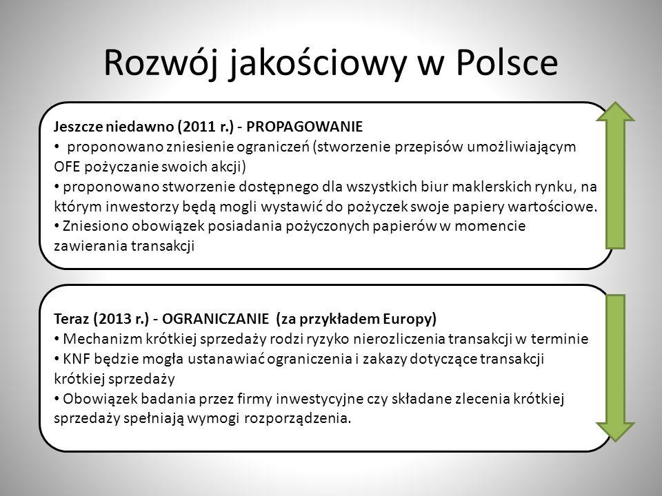 Rozwój jakościowy w Polsce Jeszcze niedawno (2011 r.) - PROPAGOWANIE proponowano zniesienie ograniczeń (stworzenie przepisów umożliwiającym OFE pożycz