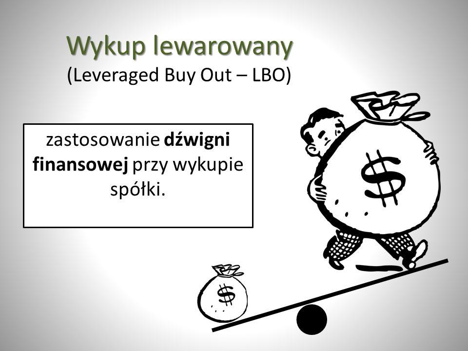 Wykup lewarowany Wykup lewarowany (Leveraged Buy Out – LBO) zastosowanie dźwigni finansowej przy wykupie spółki.