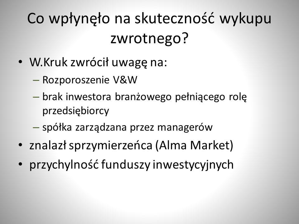Co wpłynęło na skuteczność wykupu zwrotnego? W.Kruk zwrócił uwagę na: – Rozporoszenie V&W – brak inwestora branżowego pełniącego rolę przedsiębiorcy –