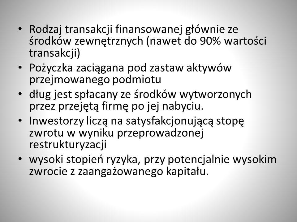Rodzaj transakcji finansowanej głównie ze środków zewnętrznych (nawet do 90% wartości transakcji) Pożyczka zaciągana pod zastaw aktywów przejmowanego