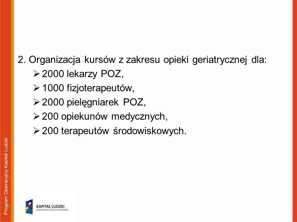 2. Organizacja kursów z zakresu opieki geriatrycznej dla: 2000 lekarzy POZ, 1000 fizjoterapeutów, 2000 pielęgniarek POZ, 200 opiekunów medycznych, 200