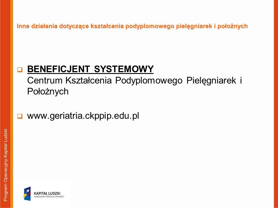 Inne działania dotyczące kształcenia podyplomowego pielęgniarek i położnych BENEFICJENT SYSTEMOWY Centrum Kształcenia Podyplomowego Pielęgniarek i Poł