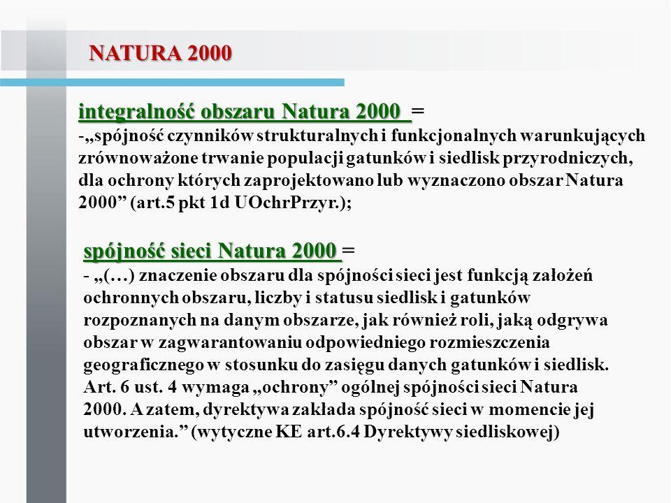 integralność obszaru Natura 2000 integralność obszaru Natura 2000 = -spójność czynników strukturalnych i funkcjonalnych warunkujących zrównoważone trw