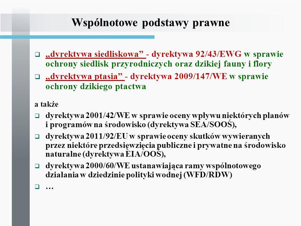 Wspólnotowe podstawy prawne dyrektywa siedliskowa - dyrektywa 92/43/EWG w sprawie ochrony siedlisk przyrodniczych oraz dzikiej fauny i flory dyrektywa