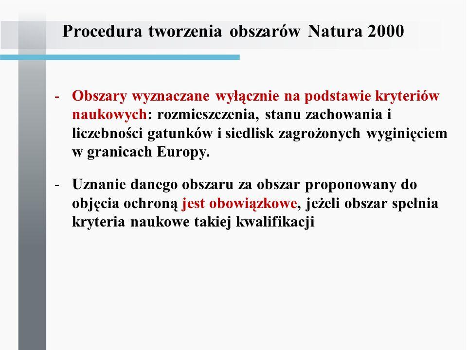 Procedura tworzenia obszarów Natura 2000 -Państwo członkowskie nie może się powoływać się na interesy gospodarcze, społeczne i kulturowe oraz cechy regionalne i lokalne jako powody wyłączenia obszarów spełniających kryteria naukowe z listy obszarów proponowanych do objęcia ochroną => ocena taka jest możliwa dopiero przy analizie planowanych programów i przedsięwzięć -Zmiana granic – jedynie w razie zaniku przedmiotu ochrony w wyniku zmian związanych z naturalnymi procesami, którym nie dało się zapobiec