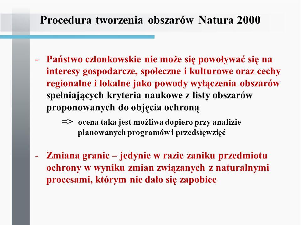 Procedura tworzenia obszarów Natura 2000 -Państwo członkowskie nie może się powoływać się na interesy gospodarcze, społeczne i kulturowe oraz cechy re