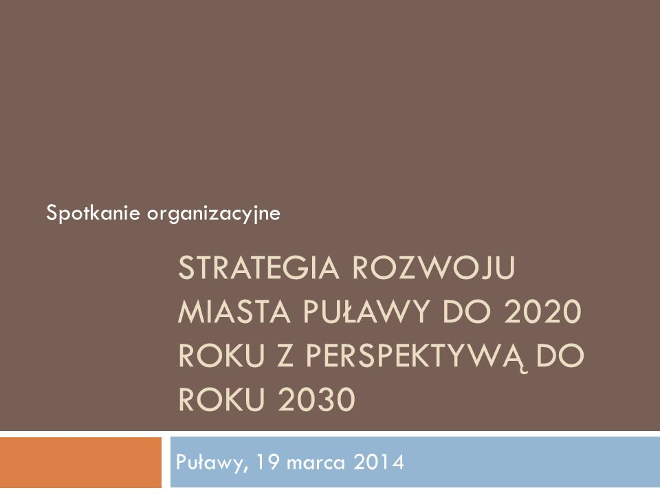 STRATEGIA ROZWOJU MIASTA PUŁAWY DO 2020 ROKU Z PERSPEKTYWĄ DO ROKU 2030 Spotkanie organizacyjne Puławy, 19 marca 2014