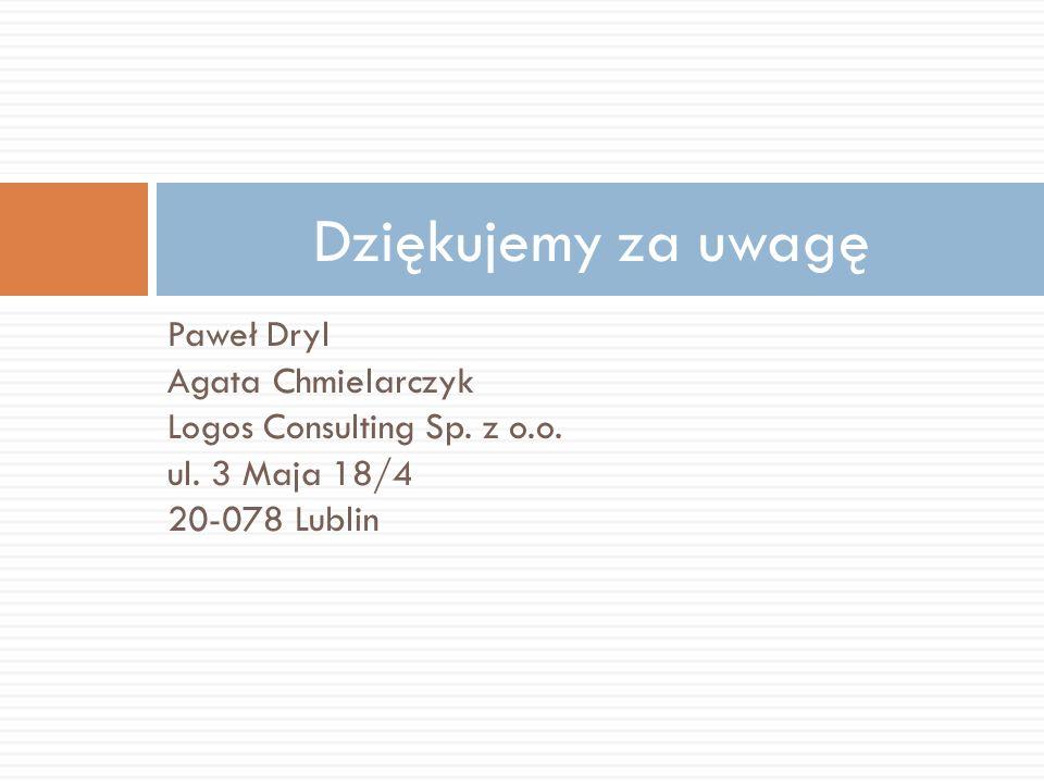 Paweł Dryl Agata Chmielarczyk Logos Consulting Sp. z o.o. ul. 3 Maja 18/4 20-078 Lublin Dziękujemy za uwagę