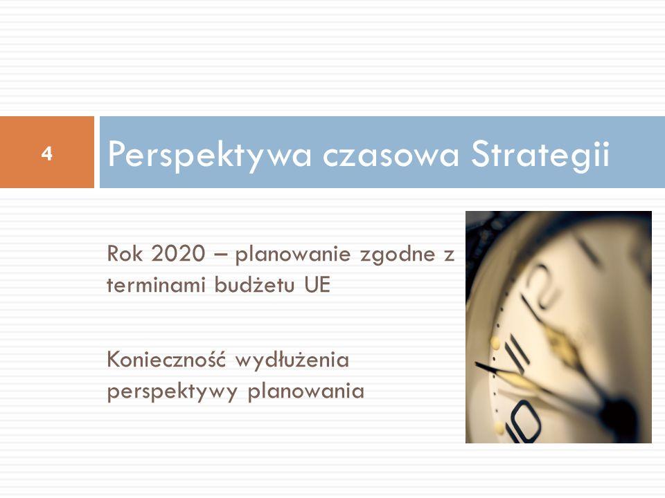 Rok 2020 – planowanie zgodne z terminami budżetu UE Konieczność wydłużenia perspektywy planowania Perspektywa czasowa Strategii 4