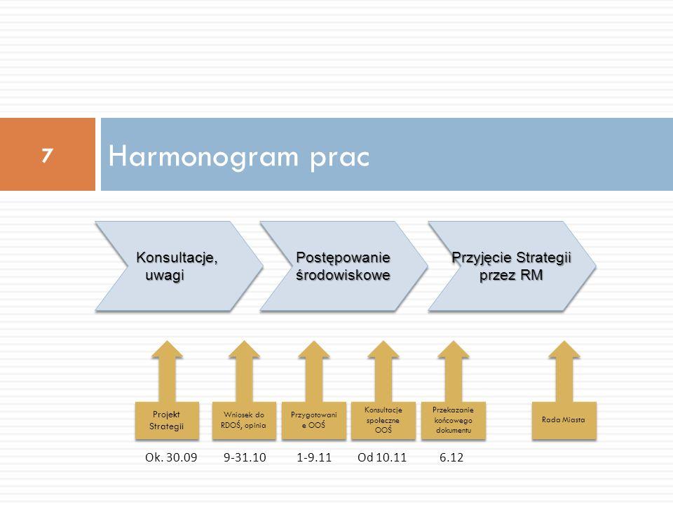 Harmonogram prac 7 Konsultacje, uwagi Postępowanie środowiskowe Przyjęcie Strategii przez RM Projekt Strategii Ok. 30.09 Przekazanie końcowego dokumen