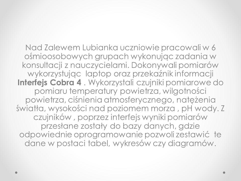 Nad Zalewem Lubianka uczniowie pracowali w 6 ośmioosobowych grupach wykonując zadania w konsultacji z nauczycielami.