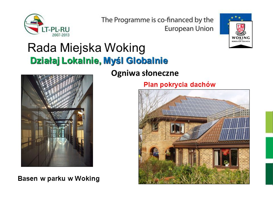 Ogniwa słoneczne Basen w parku w Woking Plan pokrycia dachów Działaj Lokalnie, Myśl Globalnie Rada Miejska Woking Działaj Lokalnie, Myśl Globalnie