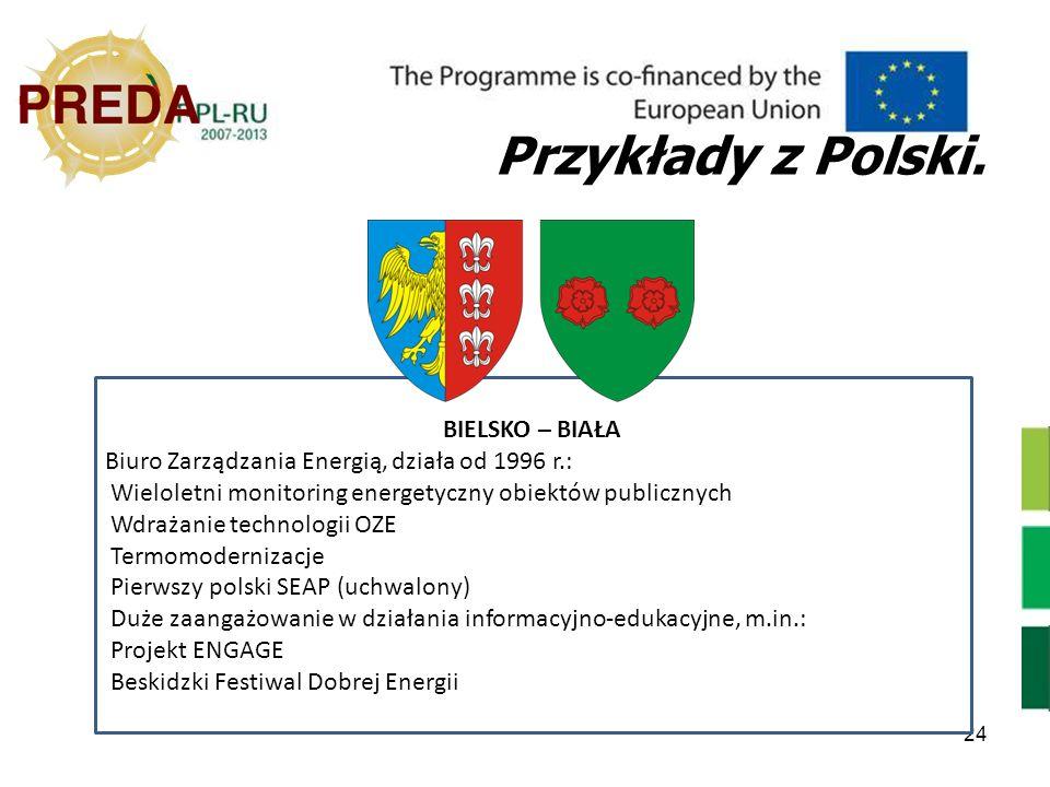 24 Przykłady z Polski. BIELSKO – BIAŁA Biuro Zarządzania Energią, działa od 1996 r.: Wieloletni monitoring energetyczny obiektów publicznych Wdrażanie