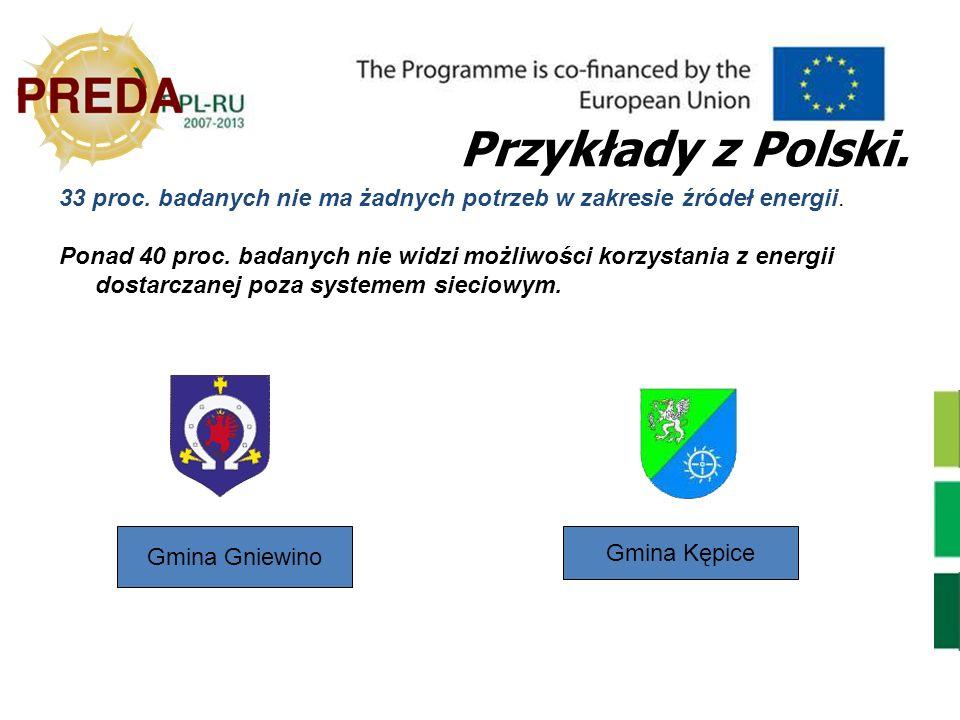 Gmina Gniewino Przykłady z Polski. 33 proc. badanych nie ma żadnych potrzeb w zakresie źródeł energii. Ponad 40 proc. badanych nie widzi możliwości ko