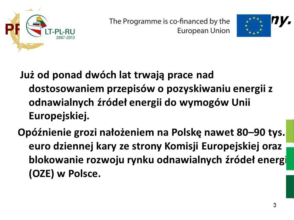3 Stan prawny. Już od ponad dwóch lat trwają prace nad dostosowaniem przepisów o pozyskiwaniu energii z odnawialnych źródeł energii do wymogów Unii Eu