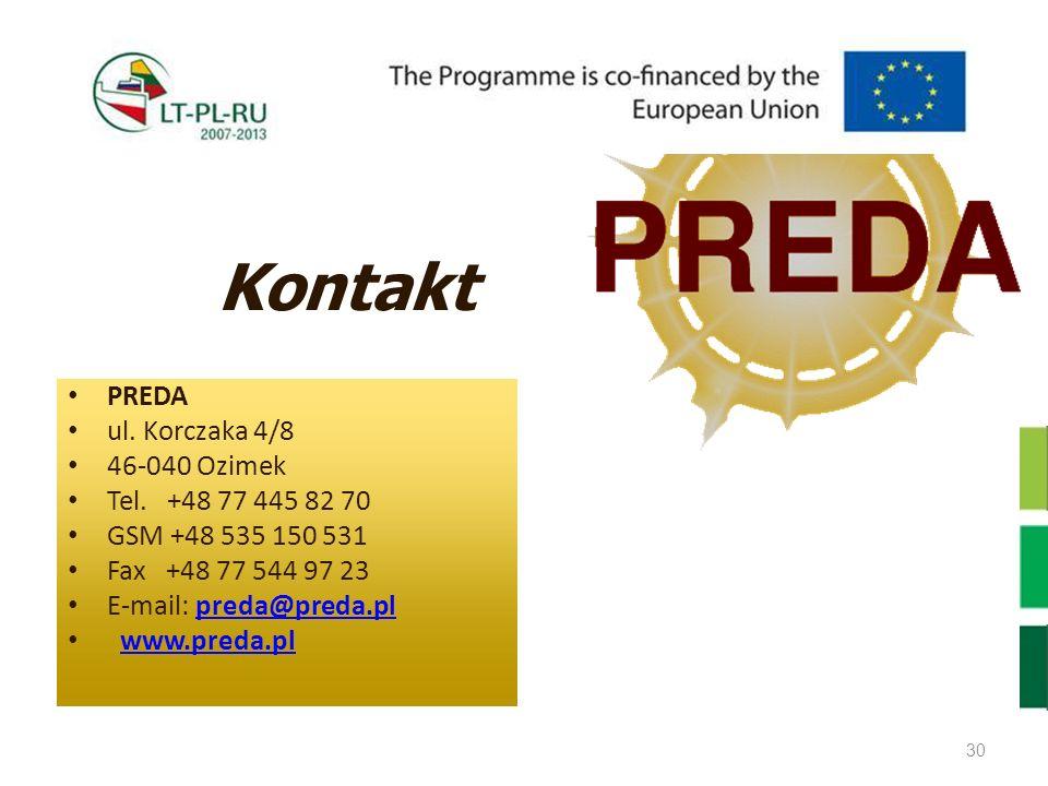 Kontakt PREDA ul. Korczaka 4/8 46-040 Ozimek Tel. +48 77 445 82 70 GSM +48 535 150 531 Fax +48 77 544 97 23 E-mail: preda@preda.plpreda@preda.pl www.p