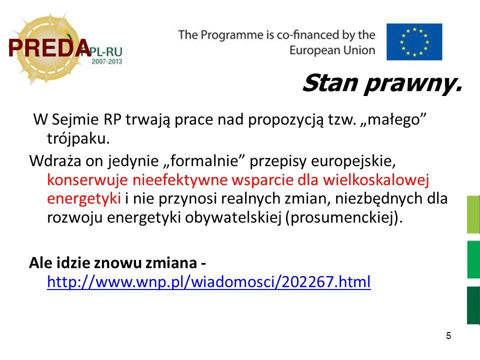 5 Stan prawny. W Sejmie RP trwają prace nad propozycją tzw. małego trójpaku. Wdraża on jedynie formalnie przepisy europejskie, konserwuje nieefektywne