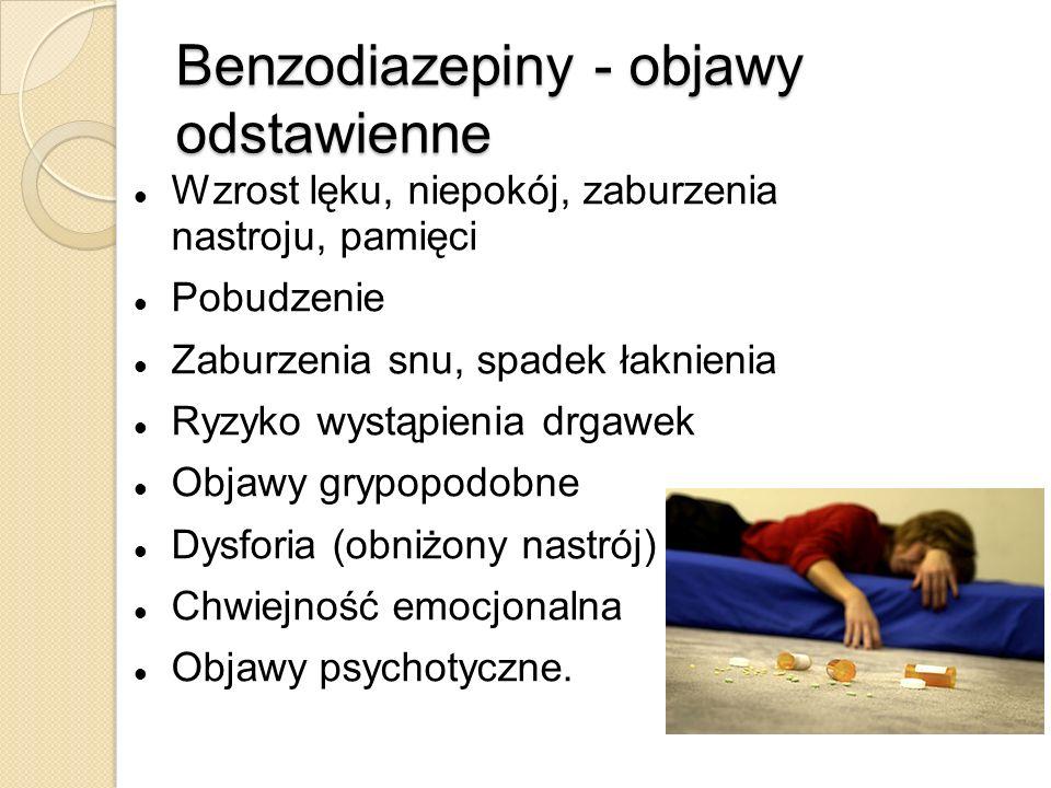 Benzodiazepiny - objawy odstawienne Wzrost lęku, niepokój, zaburzenia nastroju, pamięci Pobudzenie Zaburzenia snu, spadek łaknienia Ryzyko wystąpienia