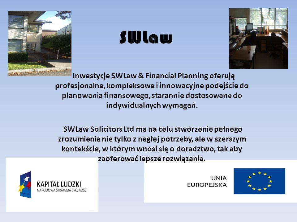 SWLaw Inwestycje SWLaw & Financial Planning oferują profesjonalne, kompleksowe i innowacyjne podejście do planowania finansowego, starannie dostosowane do indywidualnych wymagań.