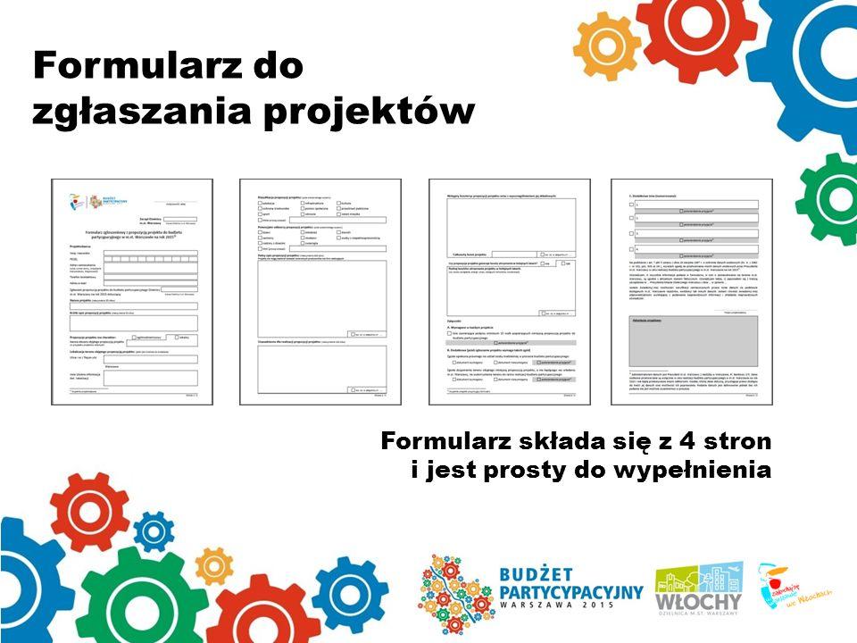 Formularz do zgłaszania projektów Formularz składa się z 4 stron i jest prosty do wypełnienia