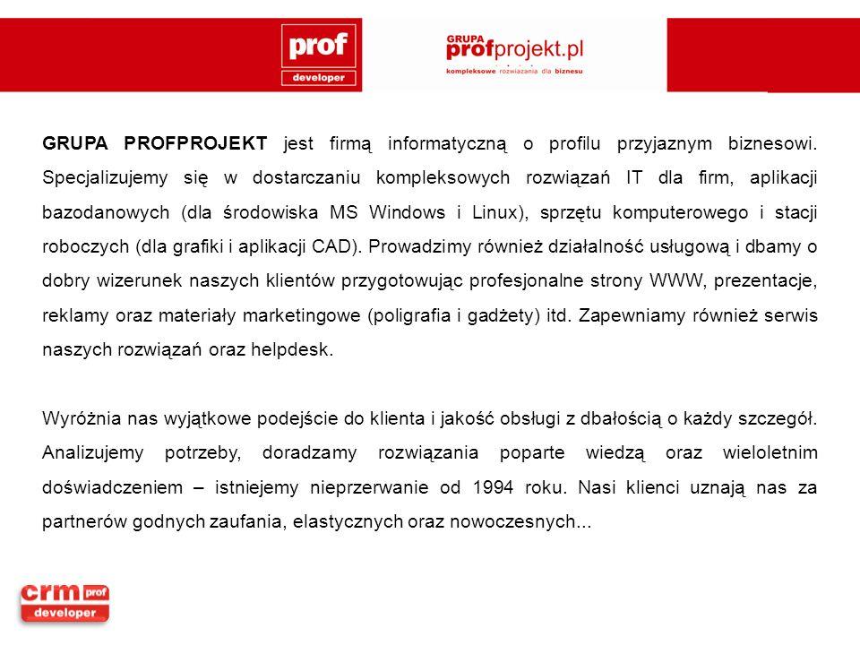 GRUPA PROFPROJEKT jest firmą informatyczną o profilu przyjaznym biznesowi. Specjalizujemy się w dostarczaniu kompleksowych rozwiązań IT dla firm, apli