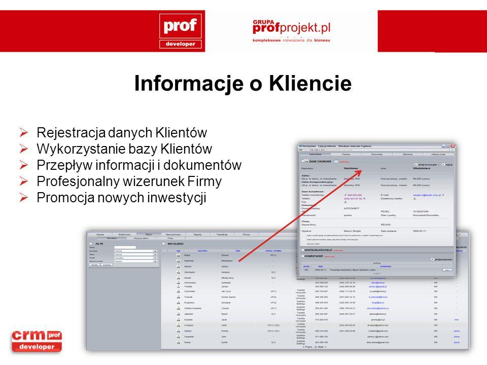Informacje o Kliencie Rejestracja danych Klientów Wykorzystanie bazy Klientów Przepływ informacji i dokumentów Profesjonalny wizerunek Firmy Promocja nowych inwestycji