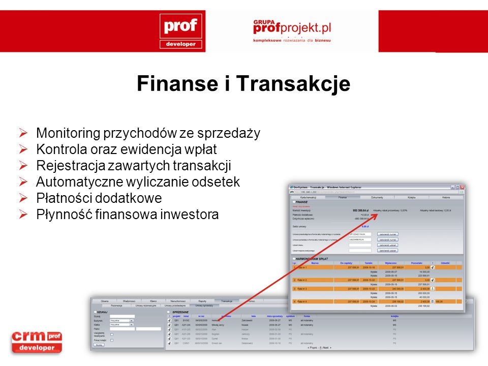 Finanse i Transakcje Monitoring przychodów ze sprzedaży Kontrola oraz ewidencja wpłat Rejestracja zawartych transakcji Automatyczne wyliczanie odsetek Płatności dodatkowe Płynność finansowa inwestora