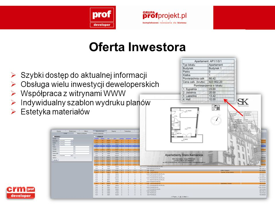 Oferta Inwestora Szybki dostęp do aktualnej informacji Obsługa wielu inwestycji deweloperskich Współpraca z witrynami WWW Indywidualny szablon wydruku planów Estetyka materiałów