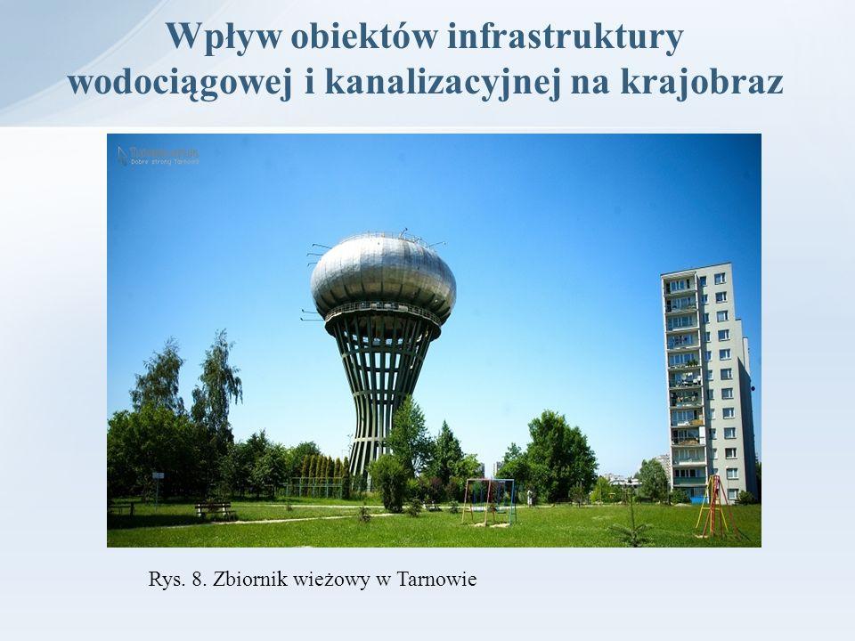 Wpływ obiektów infrastruktury wodociągowej i kanalizacyjnej na krajobraz Rys. 8. Zbiornik wieżowy w Tarnowie