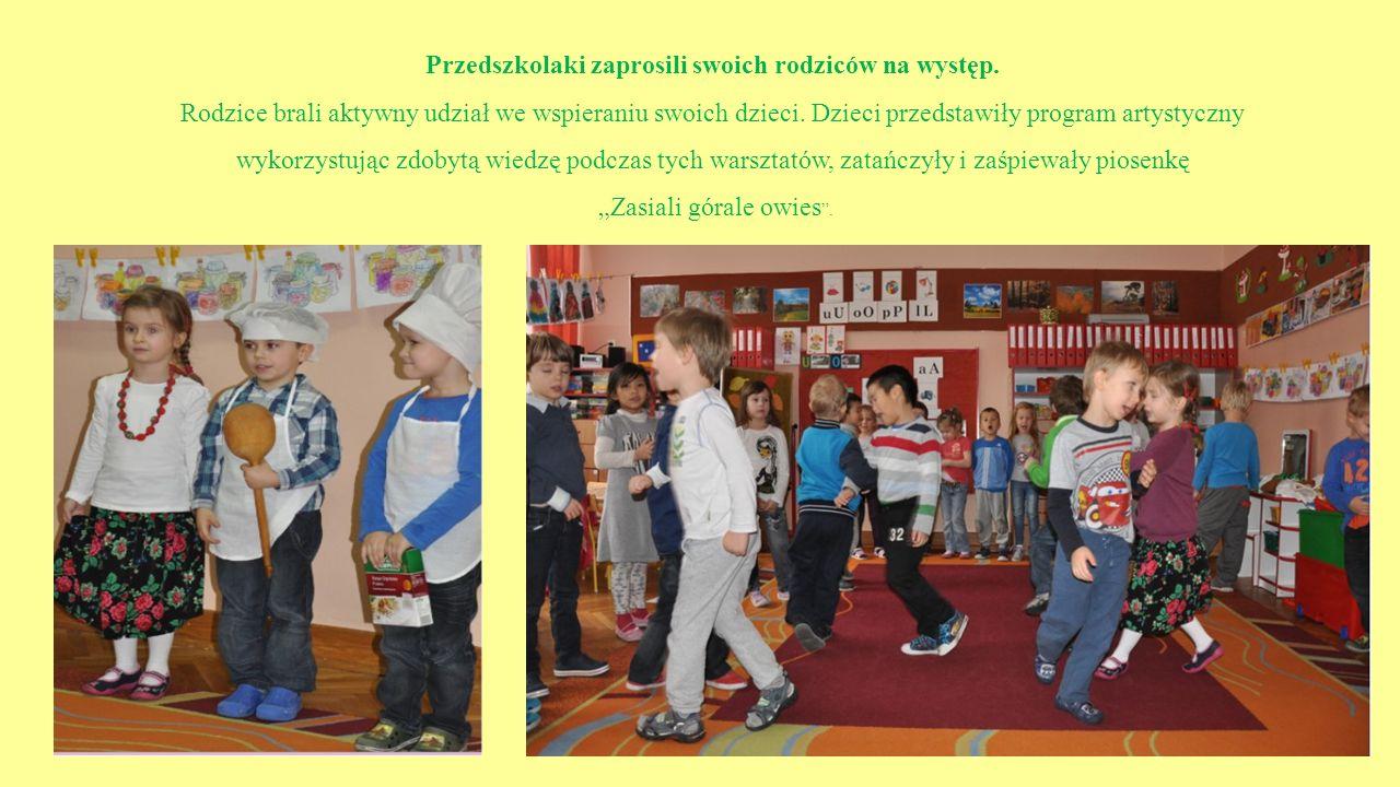 Przedszkolaki zaprosili swoich rodziców na występ. Rodzice brali aktywny udział we wspieraniu swoich dzieci. Dzieci przedstawiły program artystyczny w