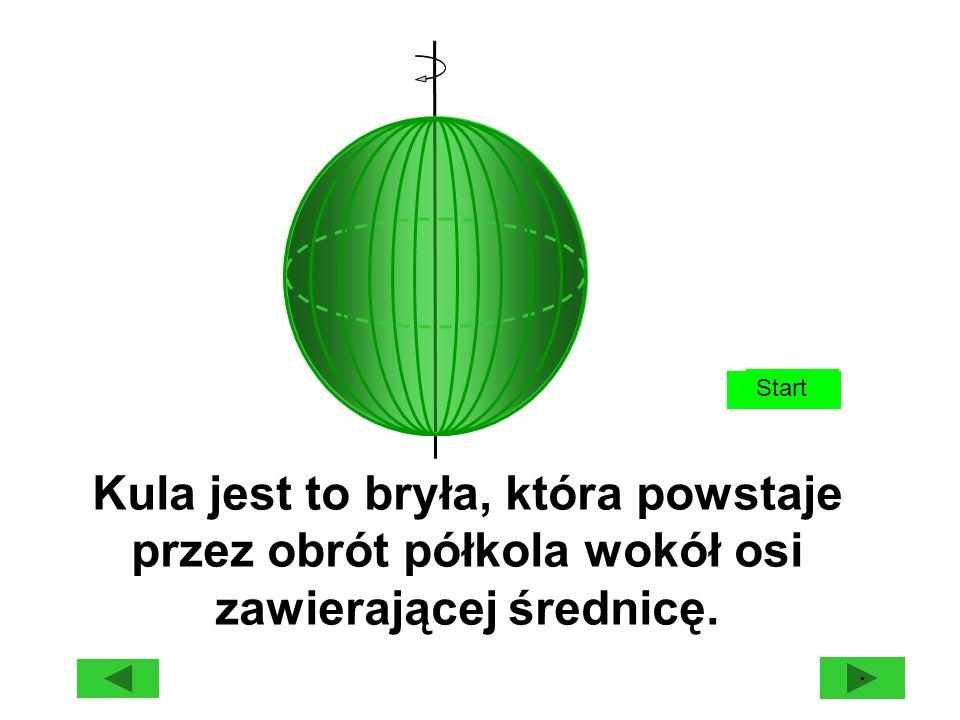Start · Kula jest to bryła, która powstaje przez obrót półkola wokół osi zawierającej średnicę.
