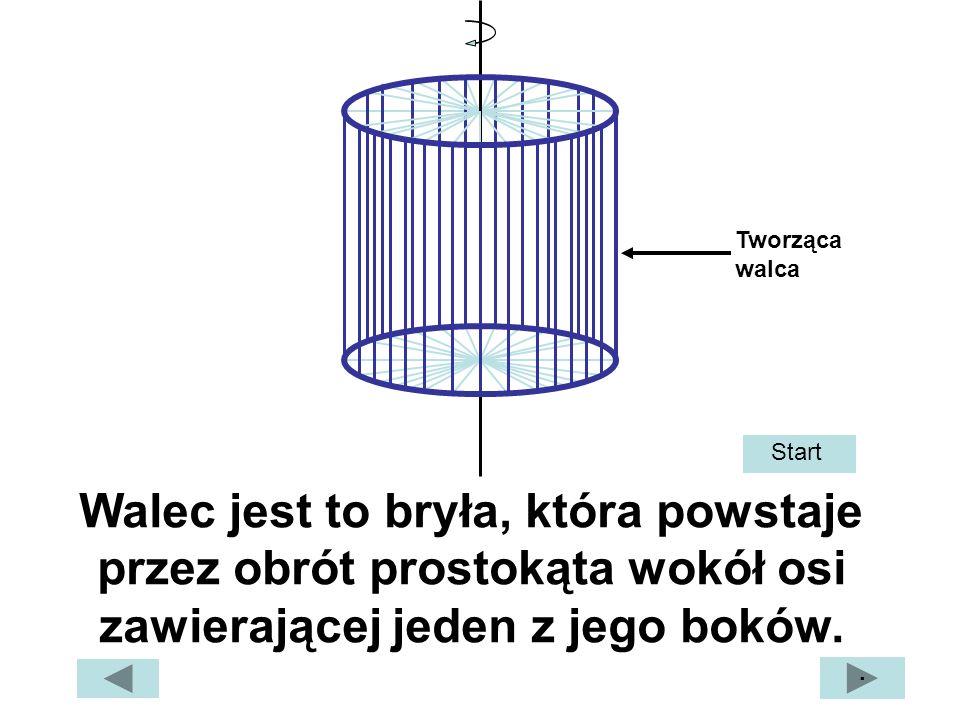 Walec jest to bryła, która powstaje przez obrót prostokąta wokół osi zawierającej jeden z jego boków. · Start Tworząca walca