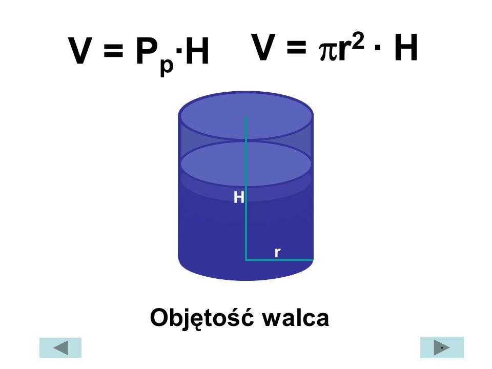 r H V = P p ·H V = r 2 · H · Objętość walca