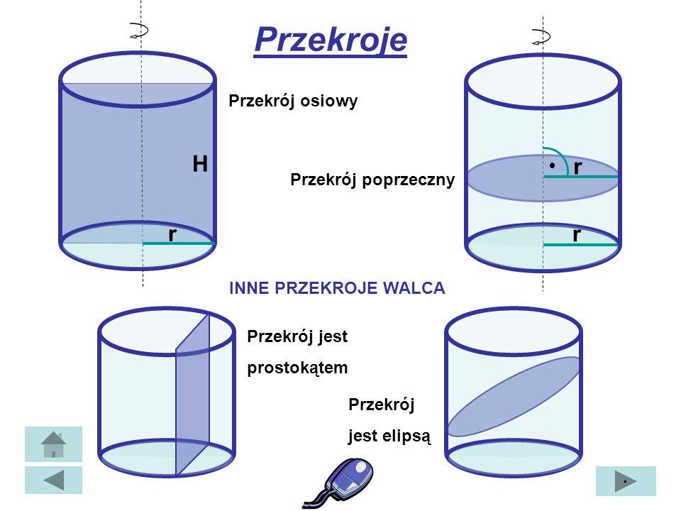 Tworząca walca Przekątna przekroju osiowego Rzut przekątnej na płaszczyznę podstawy α α – kąt nachylenia przekątnej przekroju osiowego do podstawy β β – kąt jaki tworzy przekątna przekroju osiowego z tworzącą walca ·