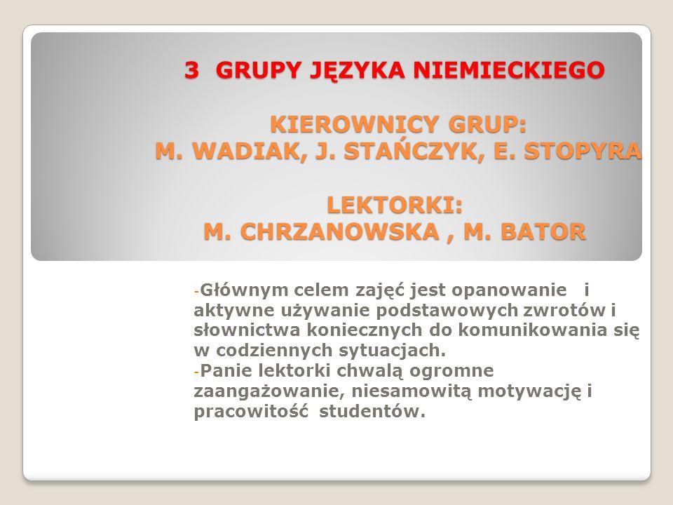 3 GRUPY JĘZYKA NIEMIECKIEGO KIEROWNICY GRUP: M.WADIAK, J.