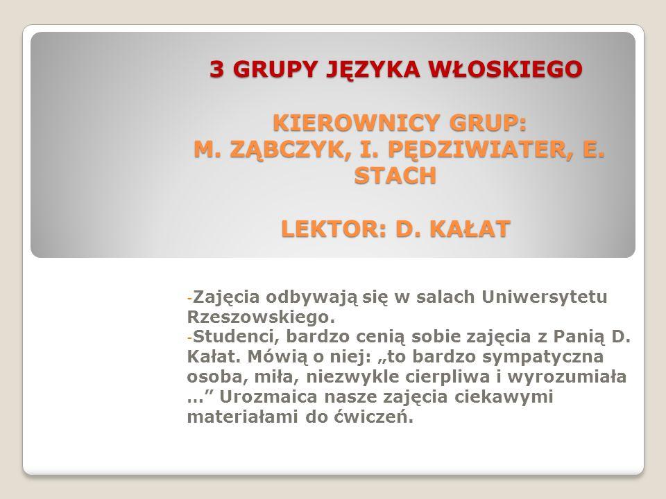 3 GRUPY JĘZYKA WŁOSKIEGO KIEROWNICY GRUP: M.ZĄBCZYK, I.