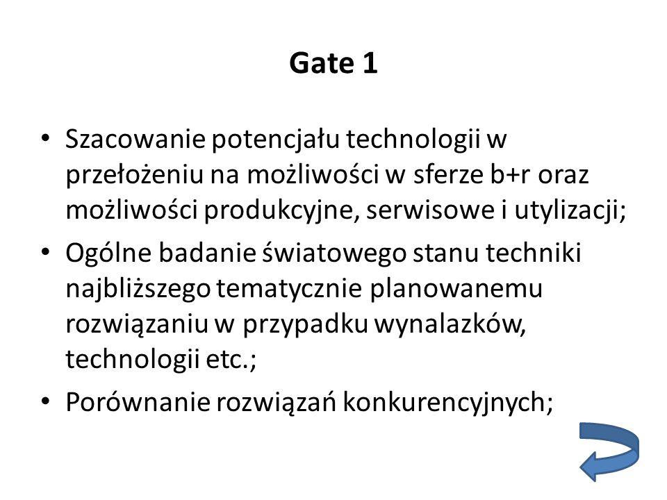 Gate 1 Szacowanie potencjału technologii w przełożeniu na możliwości w sferze b+r oraz możliwości produkcyjne, serwisowe i utylizacji; Ogólne badanie