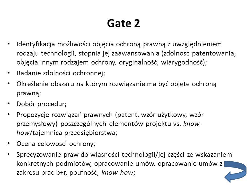 Gate 2 Identyfikacja możliwości objęcia ochroną prawną z uwzględnieniem rodzaju technologii, stopnia jej zaawansowania (zdolność patentowania, objęcia