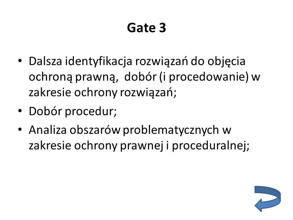 Gate 3 Dalsza identyfikacja rozwiązań do objęcia ochroną prawną, dobór (i procedowanie) w zakresie ochrony rozwiązań; Dobór procedur; Analiza obszarów