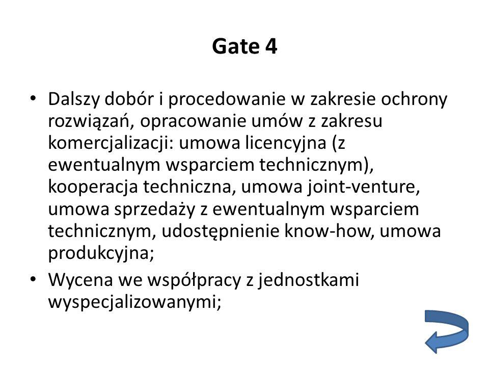 Gate 4 Dalszy dobór i procedowanie w zakresie ochrony rozwiązań, opracowanie umów z zakresu komercjalizacji: umowa licencyjna (z ewentualnym wsparciem